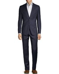 Versace Modern-fit Pinstripe Stretch Wool Suit - Blue