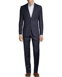 Versace Modern-fit Pinstripe Stretch Wool Suit - Blue