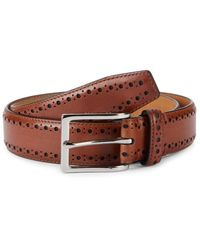 Cole Haan Men's Perforated Leather Belt - Tan - Size 32 - Multicolour