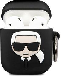 Karl Lagerfeld Embossed 3d Logo Airpods Case Cover - Black