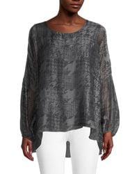 Le Marais Women's Printed Silk High-low Top - Charcoal - Size S - Gray