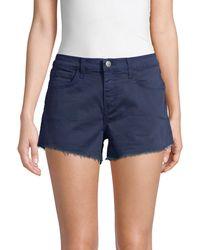 L'Agence Ryland High-rise Denim Cut Off Shorts - Blue
