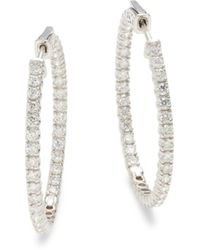 Effy 14k White Gold & Diamond Pavé Hoop Earrings