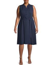 Nanette Lepore Pintucked Sleeveless Shirtdress - Blue