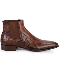 Jo Ghost Snakeskin-embossed Leather Chukka Boots - Brown