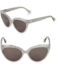 Balenciaga Marble 56mm Cat Eye Sunglasses - White