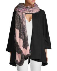 La Fiorentina Rex Rabbit Fur-trim Floral Wrap - Pink