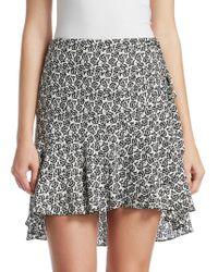 A.L.C. Farrow Floral Hi-lo Mini Skirt - Black