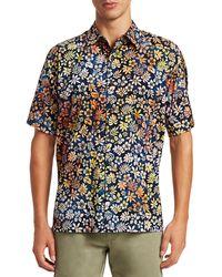 Saks Fifth Avenue Collection Cotton Hawaiian Shirt - Blue