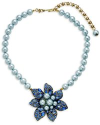 Heidi Daus Women's Faux Pearl & Crystal Bold Flower Pendant Necklace - Blue
