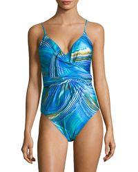 X By Gottex Tourmaline One-piece Surplice Swimsuit - Blue