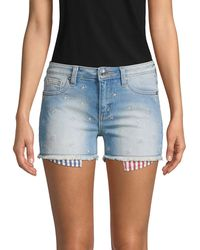 Miss Me Star Allover Denim Shorts - Blue