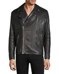 HUGO Lanster Shearling-lined Leather Biker Jacket - Black