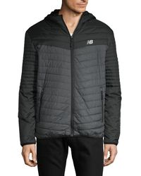 New Balance Quilted Full-zip Hooded Jacket - Black