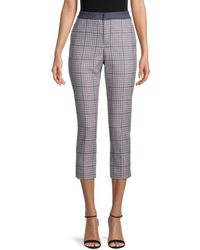 Tommy Hilfiger Plaid Woven Cropped Trousers - Blue