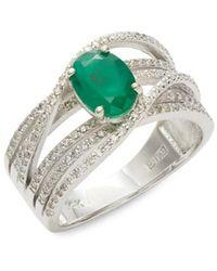 Effy Women's Brasilica 14k White Gold, Diamond & Emerald Ring - Size 7 - Green