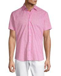 Bertigo - Printed Short-sleeve Cotton Button-down Shirt - Lyst