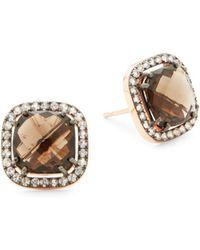 Suzanne Kalan - Sapphire, Smokey Quartz And 14k Rose Gold Stud Earrings - Lyst