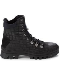 Karl Lagerfeld Men's Croc-embossed Leather Combat Boots - Black - Size 9.5