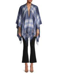 Saks Fifth Avenue Women's Plaid Merino Wool Cape - Denim - Blue