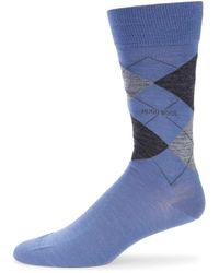 BOSS by Hugo Boss Men's Argyle Crew Socks - Navy - Size 6-9 - Blue
