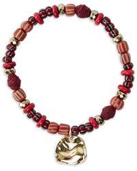 Akola Women's Brave 10k Goldplated & Multi-stone Stretch Charm Bracelet - Red