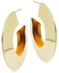 Kenneth Jay Lane - Goldtone Half Hoop Earrings - Lyst