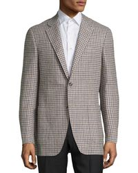 Canali Checked Wool Blazer - Brown