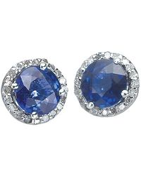 Effy Diamond, Sapphire And 14k White Gold Stud Earrings - Blue