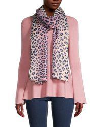 Saachi Wild At Heart Leopard-print Wool-blend Scarf - Pink