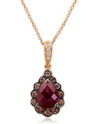 Le Vian - Chocolatier Diamond, Rhodolite & 14k Rose Gold Pendant Necklace - Lyst