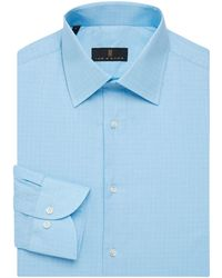 Ike Behar Regular-fit Shadow Glen Plaid Dress Shirt - Blue