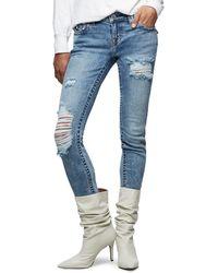 True Religion Halle Destroyed Skinny Jeans - Blue