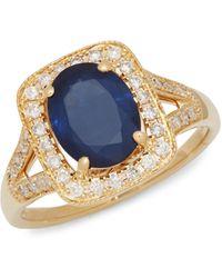 Effy 14k Yellow Gold, Sapphire & White Diamond Ring - Multicolour