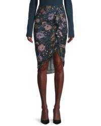 Veronica Beard Hazel Sheer Floral Skirt - Black