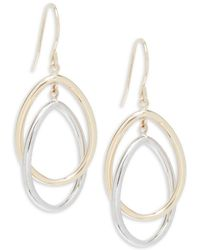 Saks Fifth Avenue - 14k Yellow Gold And White Gold Oval Drop Earrings - Lyst