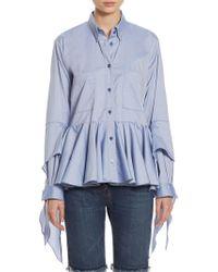 Each x Other Ruffled Cotton Poplin Shirt - Blue