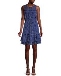 Tommy Hilfiger Women's Dot-print Ruffle-tier Dress - Twilight Combo - Size 12 - Blue