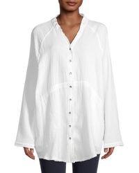 Saks Fifth Avenue Cotton Button-down Top - White