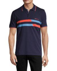 Ben Sherman Men's Vintage Stripe Stretch-cotton Polo - Maritime Blue - Size L