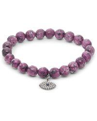 Bavna Diamond Sapphire & Agate Sterling Silver Stretch Bracelet - Multicolour
