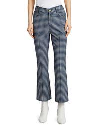 Derek Lam Gingham Crop Flare Trousers - Blue