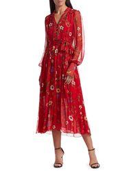 Oscar de la Renta Floral Chiffon Midi Dress - Red