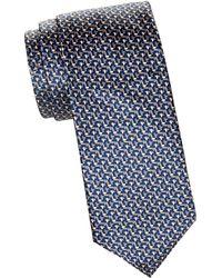 Brioni Printed Silk Tie - Blue