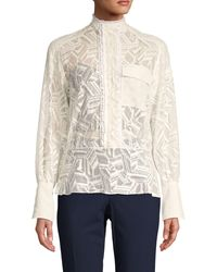 Chloé Embroidered Lace Cotton-blend Blouse - White