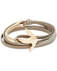 Miansai - Goldplated Anchor Half-cuff Leather Bracelet - Lyst