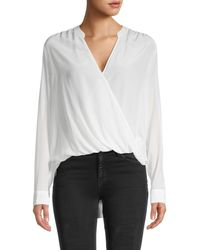 Splendid Draped Surplice Silk Blouse - White
