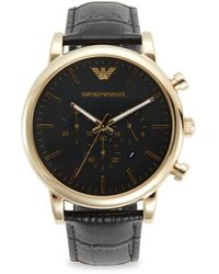 Emporio Armani Stainless Steel & Leather-strap Chronograph Watch - Black