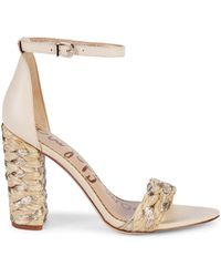 Sam Edelman Yoana Woven Raffia & Leather Sandals - Natural