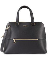 Furla Women's Medium Alex Dome Leather Top Handle Bag - Onyx - Black